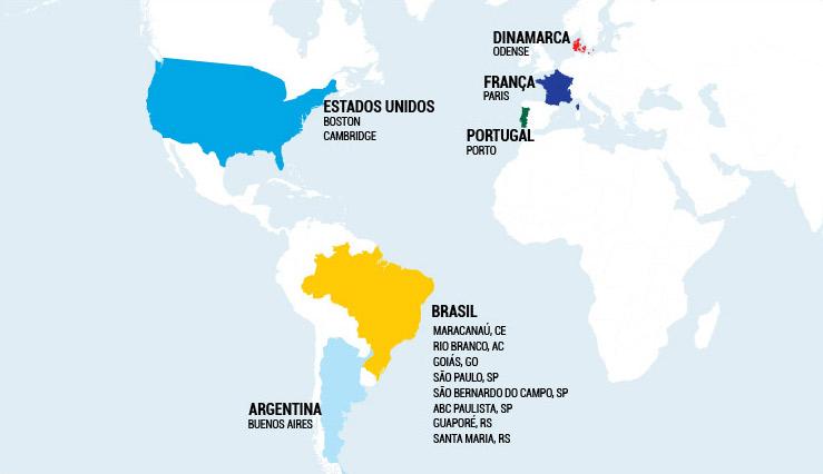 Mapa Mundi com os países visitados pelo IRM em destaque, listados abaixo.