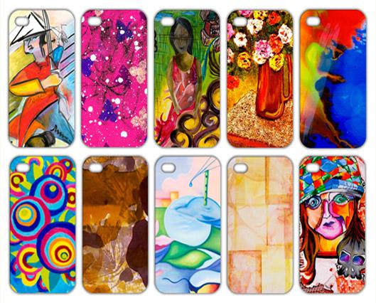 Dez capas de celular estampadas com obras de arte coloridas estão dispostas lado a lado, em dois grupos, em fundo branco.