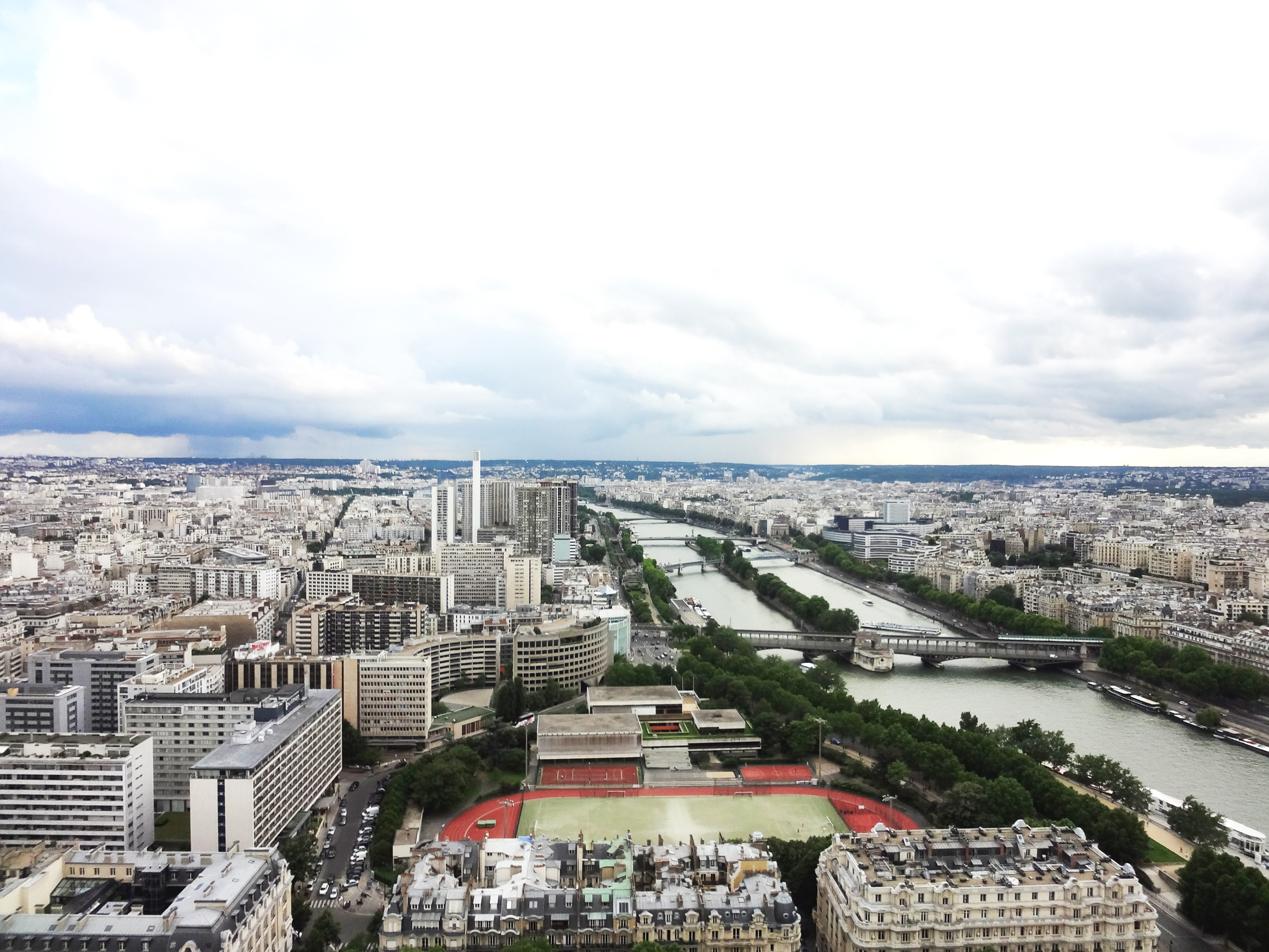 Vista panorâmica de Paris em dia nublado: muitos prédios de tamanhos variados, um rio corta a cidade e suas margens são arborizadas.