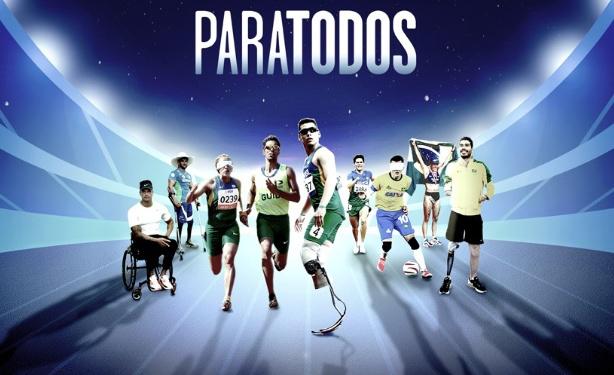 Cartaz do filme com todos os atletas paralímpicos do filme e com o título Paratodos acima