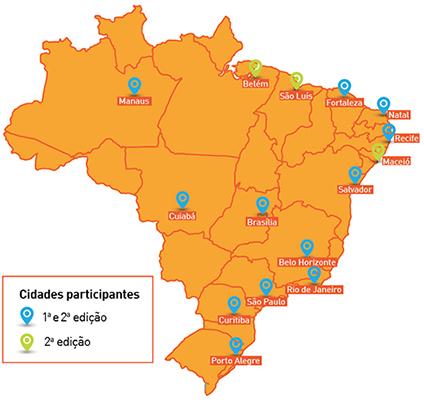 Mapa do Brasil localiza as cidades participantes do Portas Abertas, primeira e segunda edições.