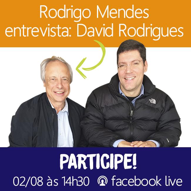 Convite de participação com uma foto de David Rodrigues ao lado de Rodrigo Hübner Mendes e o texto