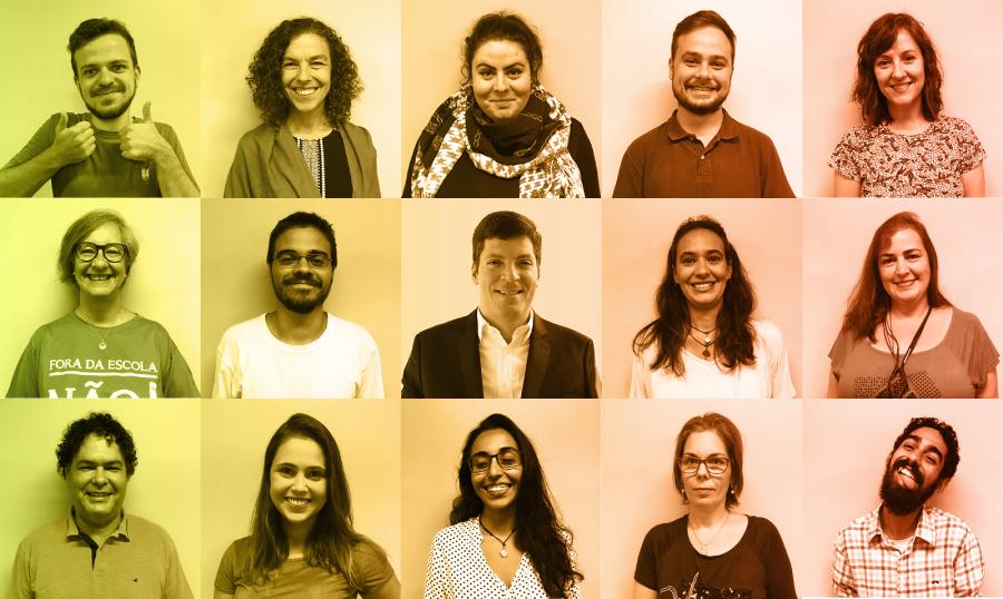 Mosaico com a foto de perfil dos 15 membros do Instituto Rodrigo Mendes.